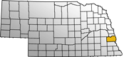 Map showing Cass County location within the state of Nebraska